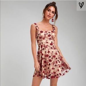 Lulus Embroidered Rose Dress